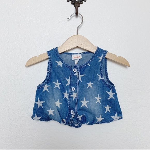 CAT&JACK Chambray Tie-Front Tank, Star Print, 12M